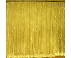 Guirlande Rideau Lumineux ,300 LEDs 3M x 3M Lumières Féériques Fenêtre Lumineux LED 8 Modes de Fonctionnement Décoration pour Soirée de Mariage et Noël, Cour,Jardin Blanc / Blanc Chaud