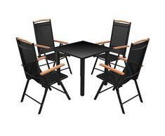 LD Set de 5 pièces Aluminium Alu Ensemble de mobilier de Jardin Ensemble de Jardin Lounge