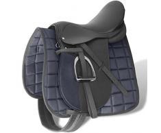 vidaXL Set de Selle 17,5 Cuir Véritable 18 cm 5 en 1 Noir Equitation Cheval