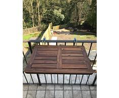 Click-Deck table de balcon en bois dur, table pliante à suspendre, garde-corps, table à manger pour jardin, barbecue, table d'appoint