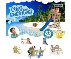 WICKEY Aire de jeux FreeFlyer Portique de jeux en bois Maison d'enfants avec balançoire, toboggan rouge, mur d'escalade, échelle de cordes, bac à sable + Accessoires