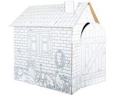 Small foot 10015 Cabane Maisonnette en carton , peut être peint à la cire, crayons feutres et crayons, à partir de 3 ans