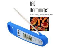 Malanzs Thermomètre de Cuisine Alimentaire Thermomètre à Viande de Cuisson des Aliments Sonde Pliable Inoxydable LCD Ecran Digital Numérique Electronique à Lecture Instantanée pour Barbecue BBQ Nouriture Grill Casse-croûte