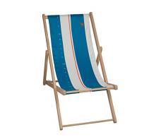 EDENIA Chilienne relax de jardin Bleu Lagon/Blanc 132x55x3,5 cm 009754