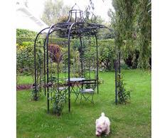 L'Héritier Du Temps Gloriette Princess Small Tonnelle en Fer Forgé Pergola de Jardin Abris Rond En Acier Peinture Epoxy Marron Martelé 240x240x300cm