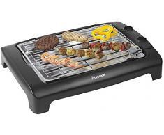 Bestron Barbecue de table électrique, Avec pieds à hauteur ajustable et bac récupérateur de graisses, 2000 W, Noir