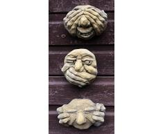 Homezone® Finition à la Main 3PC Hear No Evil See No Evil & Speak No Evil Gargouille Funny Face Nain de Jardin plaques murales