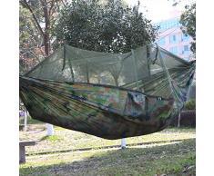 Double berceau de camping portable avec filet de moustiquaire capacité de roulement 440 lbs tente de parachute légère de voyage parachute (102 * 55 pouces) tente de balançoire suspendue,Camouflage