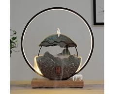 Fontaine Dintérieur Décoration avec Anneau De Lumière LED - Zen Décoration De Créative Statue Montagne Feng Shui Stone Stone Cascade