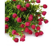 2Pcs 6-Branches Eucalyptus Plante Artificielle Fleurs Décoration pour Bureau Maison - Rouge