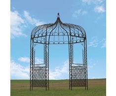 chemin_de_campagne Tonnelle Gloriette Kiosque en Fer de Jardin Marron ø200 cm