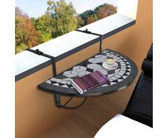 Anself Table de balcon suspendue Demi-circulaire