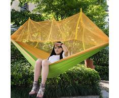 Double berceau de camping portable avec filet de moustiquaire capacité de roulement 440 lbs tente de parachute légère de voyage parachute (102 * 55 pouces) tente de balançoire suspendue,Jaune et vert clair
