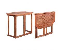 vidaXL Bois dAcacia Massif Table de Balcon Jardin Terrasse Patio Extérieure