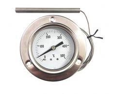 ReDPOINT Spares Thermomètre 0-500° en acier inoxydable pour fours à pizza, barbecue, fours à bois, etc.