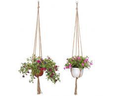 niceEshop(TM) Suspension de Plante avec Macramé Decoration - Porte Plantes Intérieur Ou Extérieur 2 Pcs - Suspension Macramé pour Plante D'Interieur et D'Extérieur (Couleur Jute)