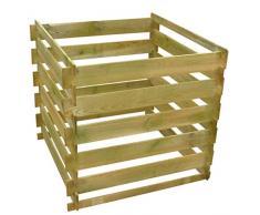 vidaXL Bac à Compost Carré Lattes de Bois FSC 0,54 m³ Composteur de Jardin