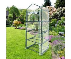 Relaxdays 10018890-349 Serre de Jardin Balcon Terrasse Transportable Mobile 2-3 ou 4 Étagères Portes