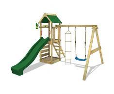 WICKEY Aire de jeux FreeFlyer Portique de jeux en bois Maison d'enfants avec balançoire, toboggan vert, mur d'escalade, échelle de cordes et bac à sable + Accessoires
