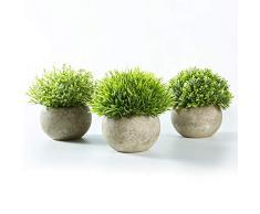 Jobary Set de 3 Plante Artificielle Interieur avec Pelouse Verte en Pots Gris, Plantes Petites Synthétiques Décoratives en Plastique, Idéales pour Décorer la Maison, Cuisine et Décoration Extérieure