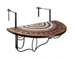 TecTake 800570 Table de Jardin Balcon Pliante en Mosaïque - Diverses Couleurs (Blanc Marron | No. 402774)