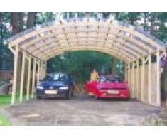 Carport Valenciennes Double en bois pour deux voitures