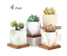 Luxspire Pots à Fleurs Succulentes 2,8, Ensemble de 4 Pots pour Fleur Succulente, Bonsai en Céramique Pot avec Trou et Plateau pour Cactus Fleurs Décoration Bureau Maison – Coloris Clair