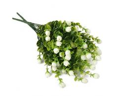 2Pcs 6-Branches Eucalyptus Plante Artificielle Fleurs Décoration pour Bureau Maison - Blanc