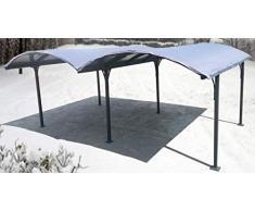 Habrita Bâche pour Double carport Aluminium Toit Demi-Rond