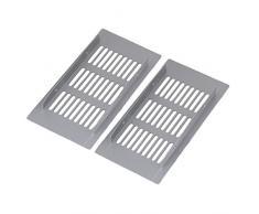 bqlzr Argent Carré en Alliage d'Aluminium respirant Ventilation Pont Plaque Grille d'aération pour armoire placard Lot de 2, argent