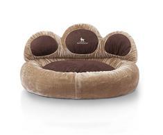 Knuffelwuff panier chien - lit pour chien - coussin - corbeille pour chien Luena - forme de patte - marron S-M 80cm