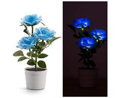 La belle et la Bête-Lampes Solaires à Fleurs Roses LED Artificial Rose Pot Flower Bonsai LED Lamp (Bleu)