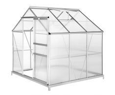 tectake 800416 Serre de Jardin et Polycarbonate Alu Tente Abri Plante Jardinage 190x185x195 cm - diverses modèles - (190x185x195 avec Base | no. 402472)