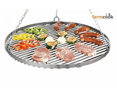 FARMCOOK grille pour barbecue suspendu acier sablé en 4 tailles disponibles jusqu'à 80 cm de diamètre Ø 50 cm
