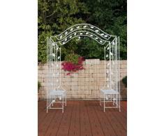 CLP Arche Jardin à rosiers ELEGANCE en métal, Gloriette de jardin ajustable avec 2 bancs, montage varié, blanc antique
