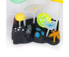 1 x Plante Aquatique Artificielle Feuilles de Lotus Champignons avec Ventouse Décoration pour Aquarium - Couleur Aléatoire