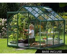 Lams - Serre de jardin alu et verre trempé Vénus 5 m² + Base - Vert