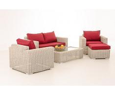 CLP Salon de jardin lounge MADEIRA 2-1-1, en polyrotin de 5 mm Revêtement: rouge rubis, Couleur de rotin: blanc perle