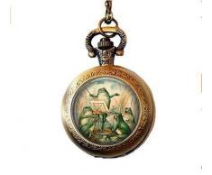 Vintage Grenouille orchestre en étang montre de poche Collier