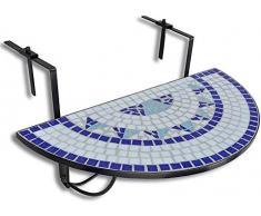 Tables de balcon semi-circulaire mosaïque table pliante,A