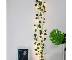 zunbo 1pc Chaîne Lumières LED Plantes Artificielles Vert Feuille de Lierre, de Vigne pour La Maison Décor Mariage Lampe Bricolage Suspendu Jardin Cour Déclairage, 2M 20 Leds