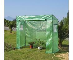 Outsunny Serre de Jardin Serre à tomates 200L x 77l x 169H cm Acier PE Haute densité 140 g/m² Anti-UV avec Porte zippée déroulante et fenêtres Vert