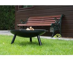 Braséro de jardin Robusta - Ø60 x 20cm e 3,5mm gros acier - couleur noire