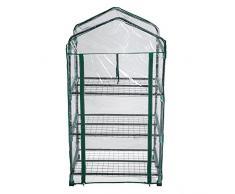 TecTake Serre de jardin 3 étages mobil cadre en metal PE plastique 69x49x133 cm