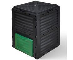VOUNOT Composteur de Jardin 300L Grande Capacité Bac Composteur pour Jardin Déchets Bac à Composte en Polypropylène Résistant aux Chocs et aux UV Noir Vert