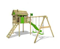 FATMOOSE Aire de jeux FunFactory Fit XXL Maisonnette de bois avec swing avec deux sièges et toboggan vert clair