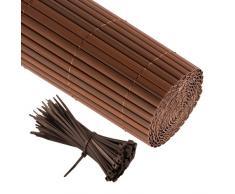 jarolift Canisse en PVC 160 x 500cm, Marron Compris 50 Attaches-câble, Marron
