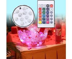 Lumières LED Submersibles, RGB multicolore Alimenté par Batterie avec IR Télécommande, 10 LED Lumières Submersibles waterproof pour base de vase, jardin, aquarium, étang, piscine, cristal, fête