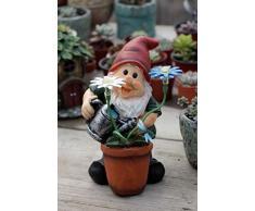 HomDSim Décoration de pelouse de 22,9 cm - Nain de Fleur - Lampe Solaire en résine - Sculpture de Jardin pour la Maison et lextérieur Vert