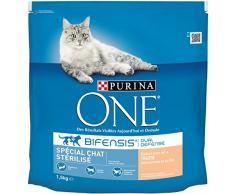 Purina One Spécial Chat Stérilisé - Élaboré avec de la Truite sélectionnée et au Blé - 1,5 kg - Croquettes pour Chat Adulte - Lot de 6